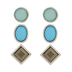 The Collection - Pack of three blue, green and grey faceted stud earrings