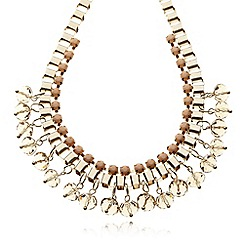 The Collection - Gold box chain bead necklace