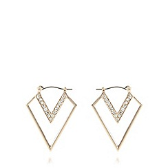The Collection - Gold plated stone point drop earrings