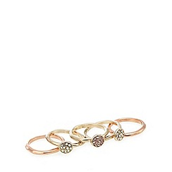 The Collection - Set of five small gold plated stacked pave disc rings