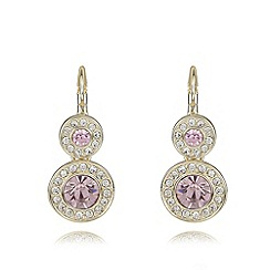 The Collection - Pink double pave disc drop earrings
