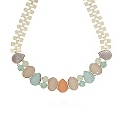 The Collection - Gold opaque gem necklace