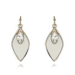 The Collection - Cream enamel leaf drop earrings