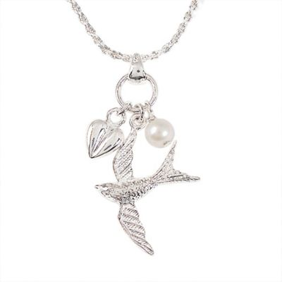 Sterling silver bird and heart pendant