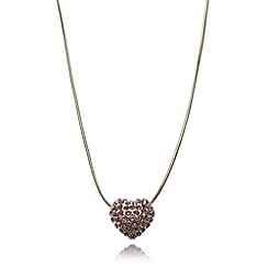 Floozie by Frost French - Pink pave heart pendant necklace