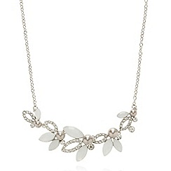 No. 1 Jenny Packham - Designer silver plated clustered leaves necklace