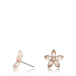 No. 1 Jenny Packham - Designer rose gold plated stone flower stud earrings