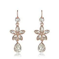 No. 1 Jenny Packham - Designer rose gold plated stone flower drop earrings
