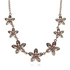 No. 1 Jenny Packham - Designer rose gold plated stone flowers necklace