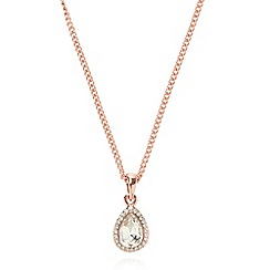 No. 1 Jenny Packham - Designer rose gold plated stone teardrop pendant necklace
