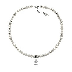 Finesse - White freshwater pearl and CZ teardrop necklace