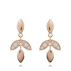 Van Peterson 925 - Designer rose gold vermeil vine leaf drop earrings