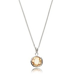 Van Peterson 925 - Designer sterling silver light peach cubic zirconia necklace