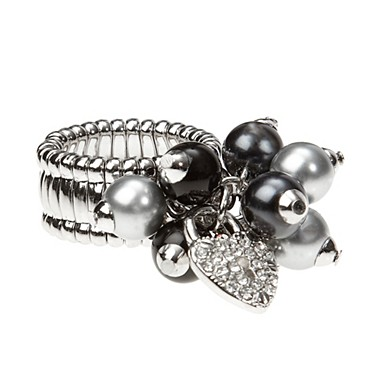 Stretch Rings on Black Pearl And Charm Stretch Ring   Fashion Rings   Jewellery   Women