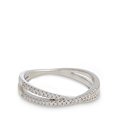 J by Jasper Conran - Designer sterling silver embellished pave band ring