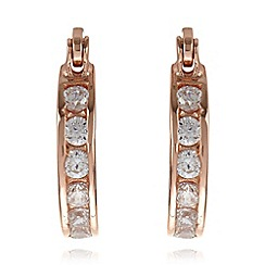 Van Peterson 925 - Rose gold stone embellished mini hoop earrings