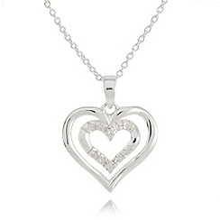 Van Peterson 925 - Sterling silver double heart pendant necklace