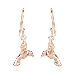 Van Peterson 925 - Designer rose gold vermeil bird earrings