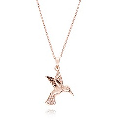 Van Peterson 925 - Designer rose gold vermeil bird pendant necklace