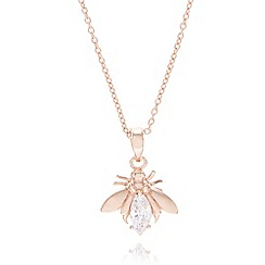 Van Peterson 925 - Designer rose gold vermeil insect pendant necklace