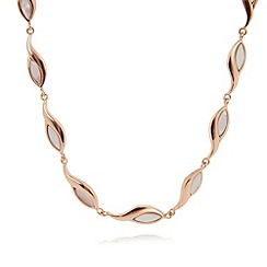 Van Peterson 925 - Designer rose gold vermeil leaf chain necklace