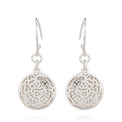 Van Peterson 925 - Designer sterling silver floral disc earrings