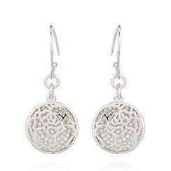 Van Peterson 925 - Designer sterling silver floral disc earrings