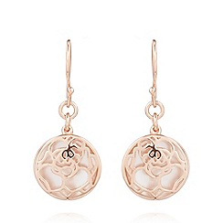 Van Peterson 925 - Designer rose gold vermeil floral disc earrings