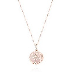 Van Peterson 925 - Designer rose gold vermeil floral disc pendant necklace