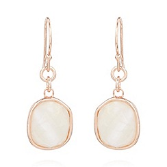Van Peterson 925 - Designer rose gold vermeil square gem earrings