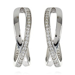 J by Jasper Conran - Designer silver plated crossover hoop earrings