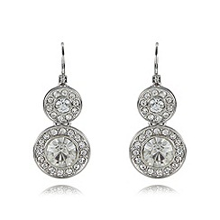 The Collection - Silver plated double pave disc drop earrings
