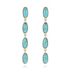 The Collection - Turquoise semi precious effect oval stone earrings