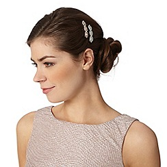 No. 1 Jenny Packham - Designer silver colour navette stone hair slides