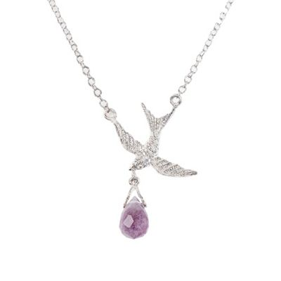 Sterling silver bird with amethyst necklace