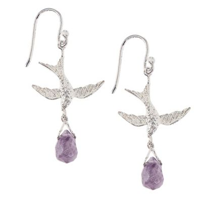 Sterling silver and amethyst bird earrings