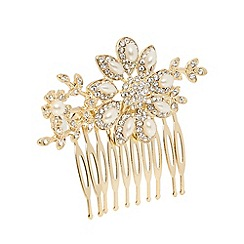 The Collection - Gold plated embellished floral hair clip