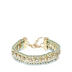 Floozie by Frost French - Gold plated stone thread wrap bracelet