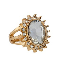 The Collection - Small gold plated oval stone ring