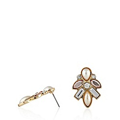 The Collection - Gold plated clustered stone earrings