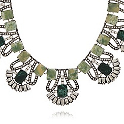 No. 1 Jenny Packham - Designer green deco fan necklace