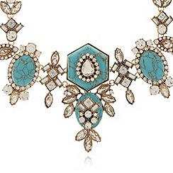 No. 1 Jenny Packham - Designer turquoise decadent stone drop necklace