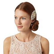 Designer cream gem embellished hair clip
