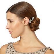 Set of two designer silver stone flower hair slides