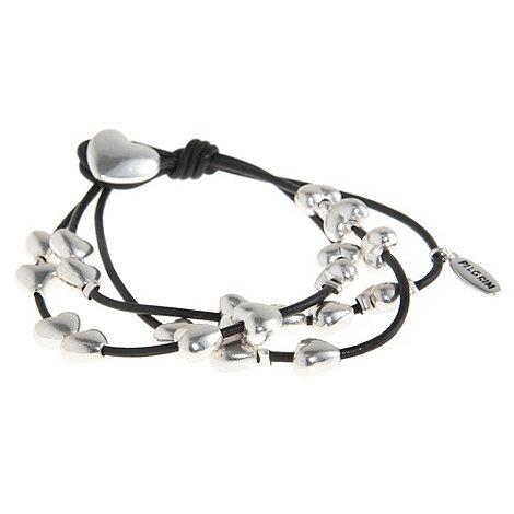 Pilgrim - Silver multi strand heart bracelet