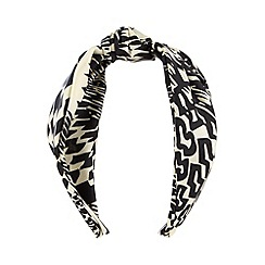 The Collection - Black printed scarf Alice band