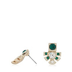 No. 1 Jenny Packham - Designer gold plated deco leaf stud earrings