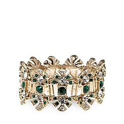 No. 1 Jenny Packham - Designer gold plated deco leaf stretch bracelet