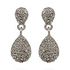 No. 1 Jenny Packham - Designer silver plated pave teardrop earrings