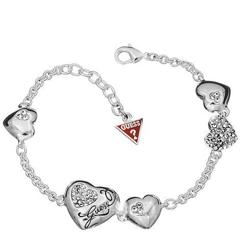 Guess - Silver multi concave heart bracelet
